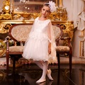White Knee-Length Flower Girl Dresses Vestido De Daminha Kids Baby Party Frocks Ruched Graduation First Communion Girl Dresses