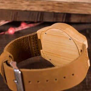 Image 5 - ボボ鳥 WB09 露出運動デザイン竹木のクォーツ腕時計リアルレザーストラップスケルトン腕時計木製ギフトボックス oem