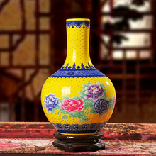 Jingdezhen Classical Golden Peony Porcelain Modern Vintage Flower Vase Ceramic Flower Christmas Decoration