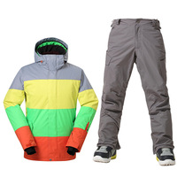 GSOU SNOW Men's Ski Suit Winter Ski Jacket Pants Waterproof Snowboard Sets Outdoor windproof breathable Snow Suit