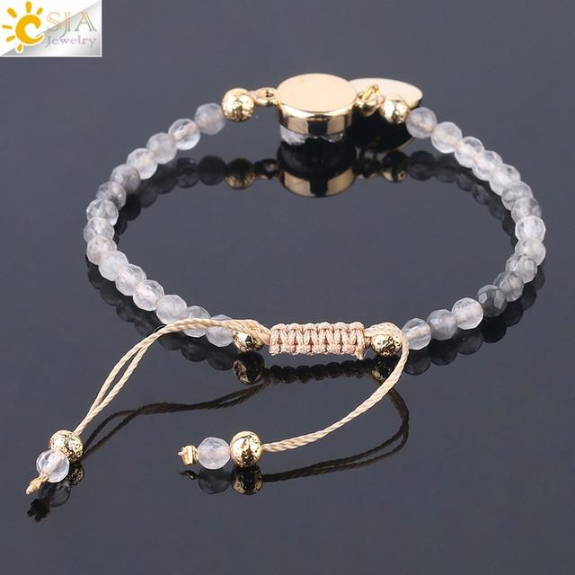 CSJA nuage Bracelet en cristal pierre naturelle à facettes petites perles coeur lune goutte deau breloques Bracelets tissés Bracelets faits à la main F746