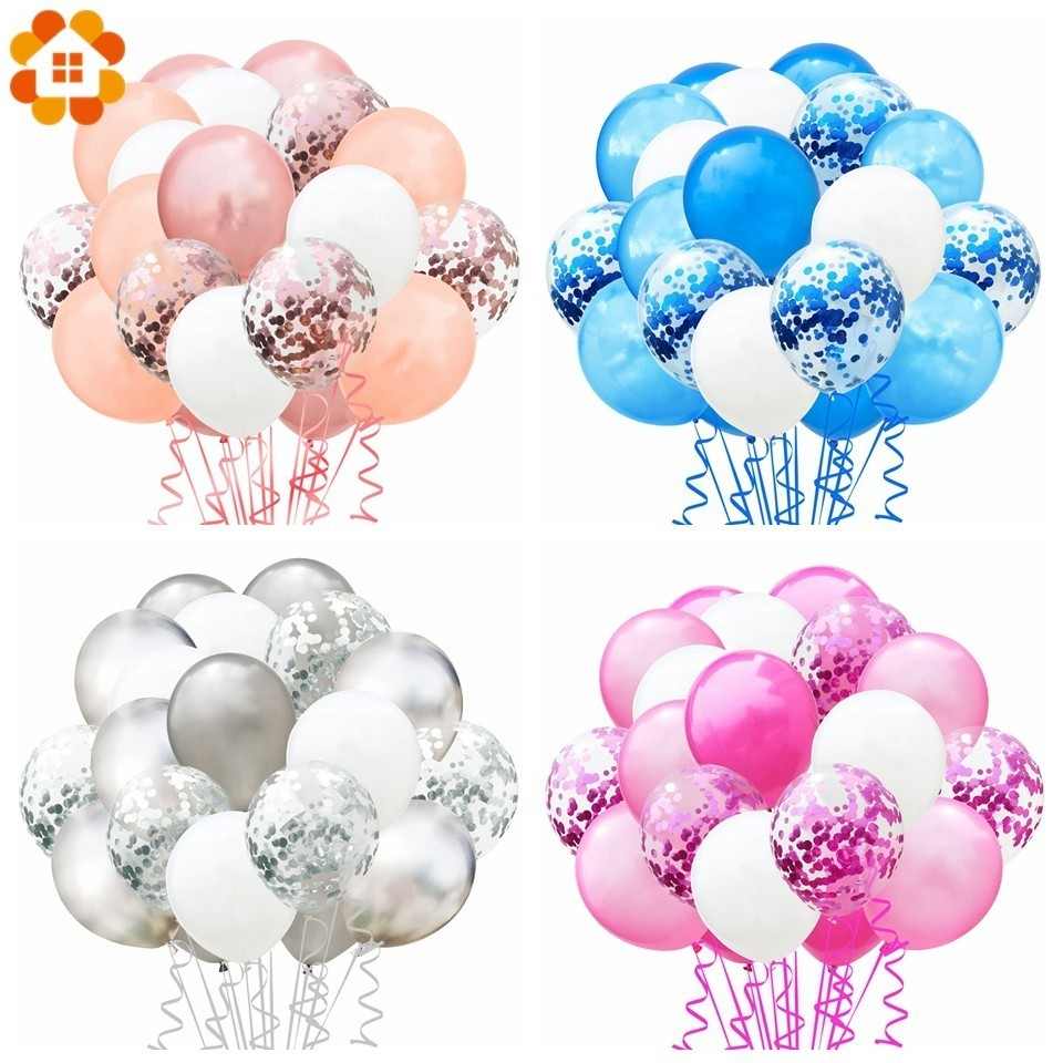<font><b>1</b></font> Set Metallic Confetti Air Balloons With Ribbon Birthday Party Helium Balloon Decorations Wedding Festival Balon Party Supplies image