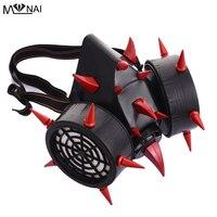 Steampunk Red Devil Horns & Rivet Spikes Gas Mask Respirator Cyber Goth Cosplay Masks Punk Accessories