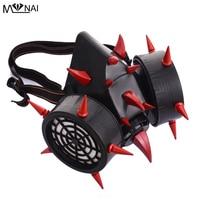 Steampunk Red Devil Horns & Rivet Spikes Gas Mask Respirator Goth Cosplay Masks Punk Accessories