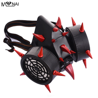 Steampunk Red Devil Horns & Rivet Spikes Gas Mask Respirator Goth Cosplay Masks Punk Accessories