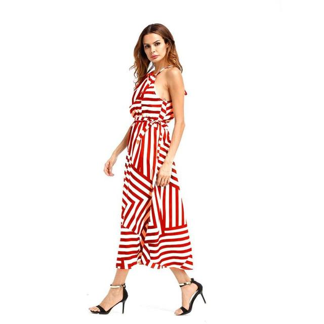 Sexy Women Summer Dress Halter Stripped Long Dresses Boho Slim Maxi Casual  Dresses Party Beach Sundress Geometric Vestidos Z30