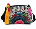 Vintage Hmong Tribal Ethnic Thai Indian Boho shoulder bag messenger embroidery, pom pom trim SYS-452B