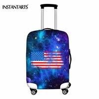 INSTANTARTS Galaxy America Flag Print Luggage Thicken Elastic Covers Travel Suitcase Protective Cover Apply To 18