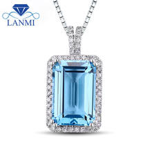 Amazing Emerald Cut 8x12mm Blue Topaz In 14Kt White Gold Purity Beauty Pendant Necklace Lovely Gemstone Jewelry for Girl GF0001