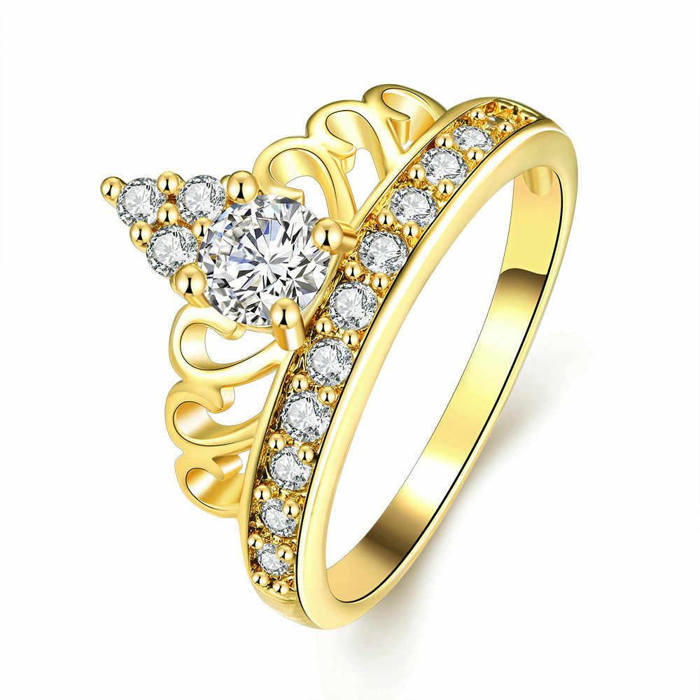 Deelan כתר טבעות לנשים תכשיטי Zirkonia עלה זהב צבע נשים אירוסין טבעת רומנטי יוקרה מסיבת חתונה מתנה