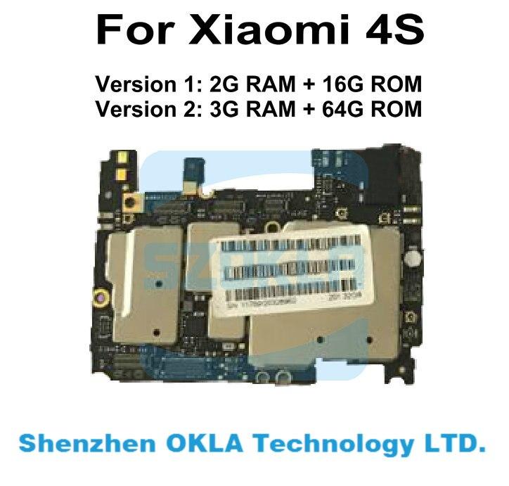 bilder für 1 stücke für xiaomi 4 s mi 4 s mi4 4g 2g ram 16 gb ROM 3G RAM 64G ROM Mainboard Motherboard Hauptplatine Systemplatine ersatz