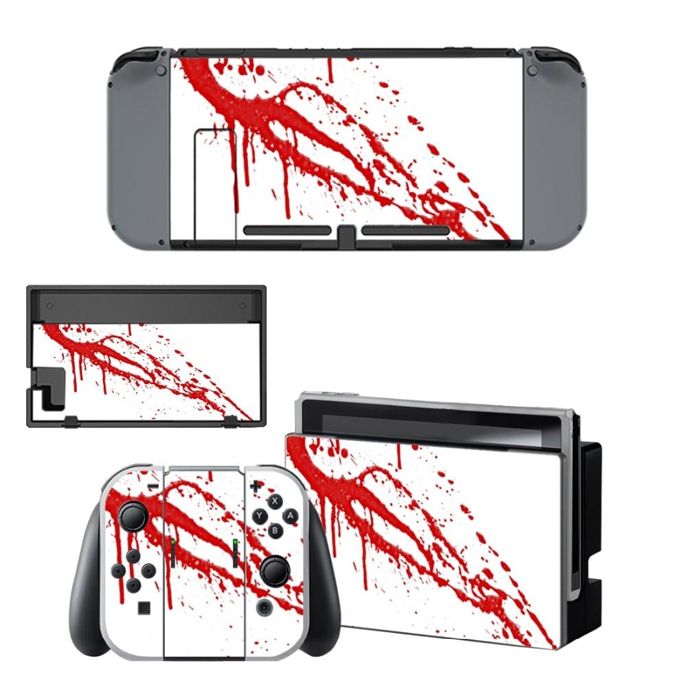 Купить с кэшбэком Nintend Switch Vinyl Skins Sticker For Nintendo Switch Console and Controller Skin Set - For Red Blood
