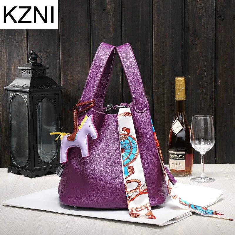 KZNI femme sac sacs à main femmes marques célèbres bonne qualité sac en cuir véritable femme messenger sacs bolsas femininas L110202 Сумка