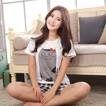 Foply Woman Pajamas Sets Hot Summer Short Sleeve Thin 2017 Pyjamas Home Furnishing Clothing Cartoon Print Cute loose sleepwear