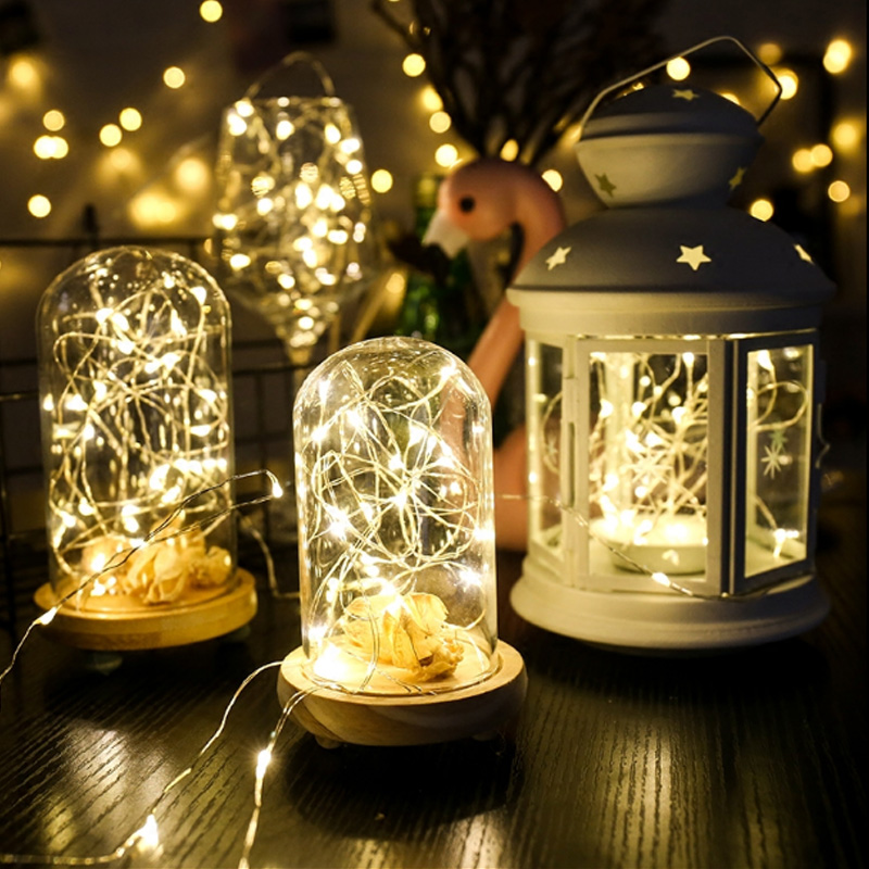 Светодиодный свет шнура 10 м 5 м 3AA Батарея Питание USB Медный провод строки Открытый Фея Света на Рождество гирлянды вечерние свадебные