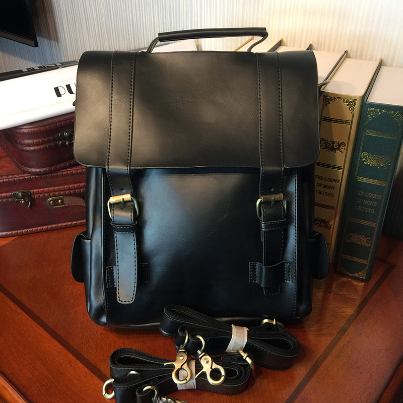 ETONWEAG Brands Cow Leather Schoolbag Backpack Women Black Vintage School Bags For Girls Casual Travel Laptop Bag Back To School ladies women genuine leather school bags for teenage girls new fashion travel female teen vintage schoolbag backpack laptop bag
