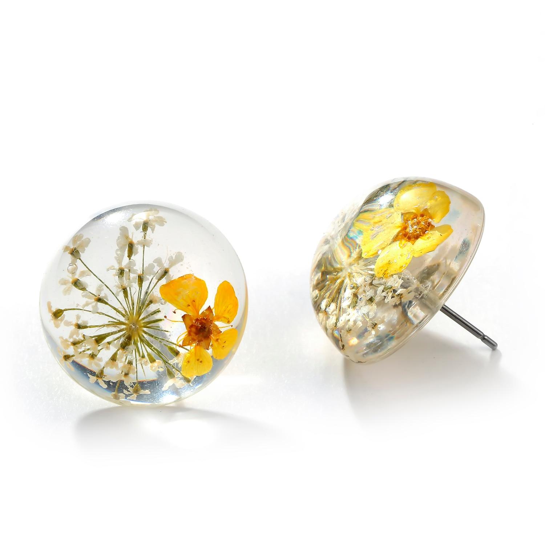 New Bohemia Fashion Dried Flower Glass Hemisphere Time Transparent Gem Square Earrings Earrings for Women Cute Earrings Modern