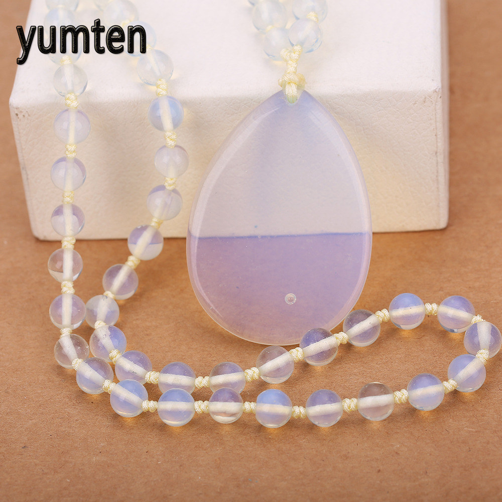 Natural stone Men s Jewelry Water Drops Pendant Necklace Popular Sweater Chain Women s Fashion Opal