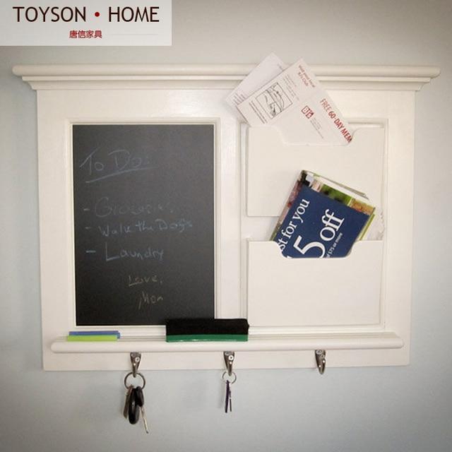 European Retro Wall Wood Frame Small Envelope Separator Shelf Shelves Shelving Key Hooks Blackboard Message Board