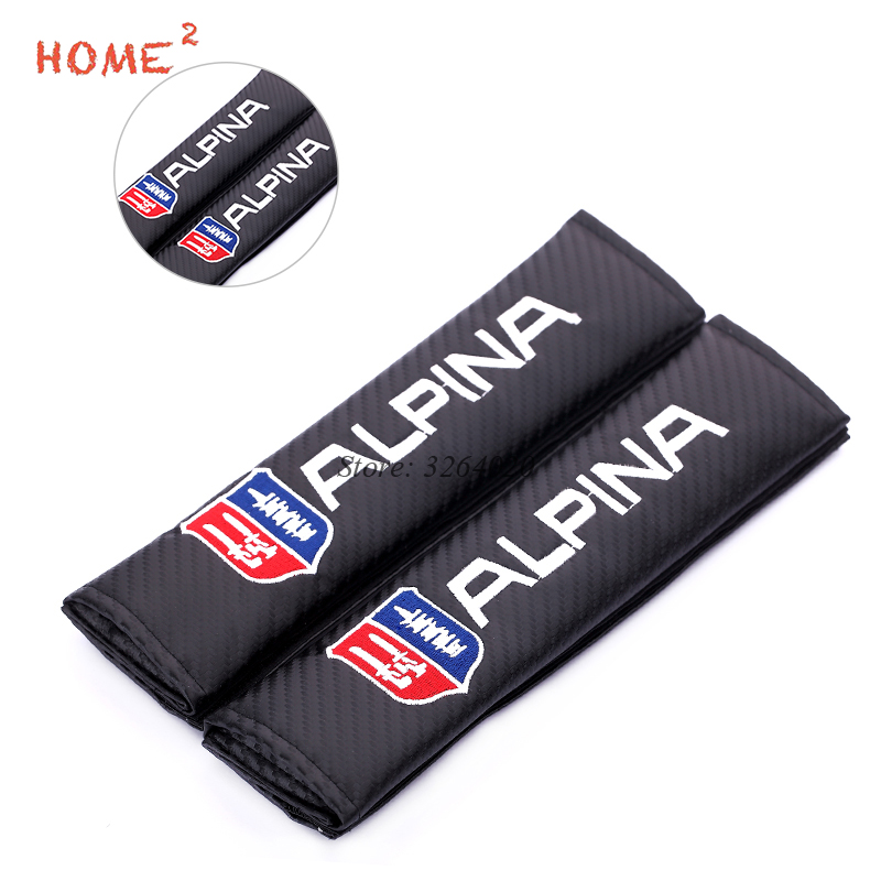 1 Pair Car Styling Safety Seat Belts Covers Auto Supplies Shoulder Pad for Alpina Logo for BMW E39 E46 E90 F30 F10 X5 F20 E53