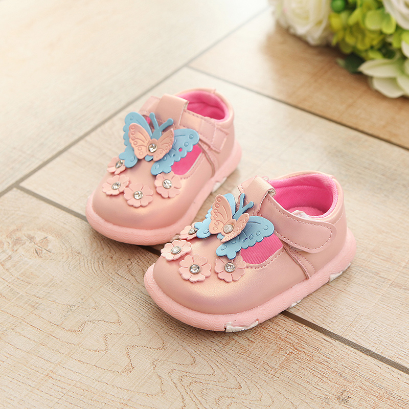 Baby Casual Shoes Girls Shoes Leather Pink Shoes Mary Jane with Butterfly Children Shoes Good Quality Toddler Shoes for Walking