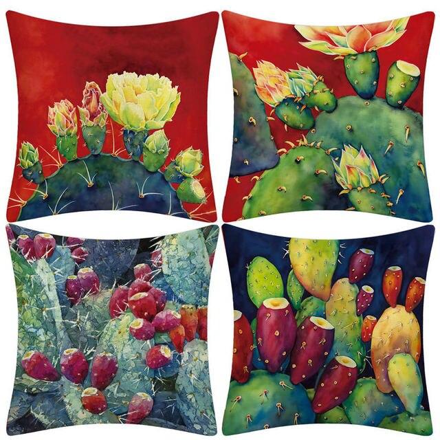 Tropikalna sukulenty kaktus kwiatowy nadruk poszewka na poduszkę pokrowiec na kanapę Sofa samochodowa podwórko kuchnia wystrój pokoju
