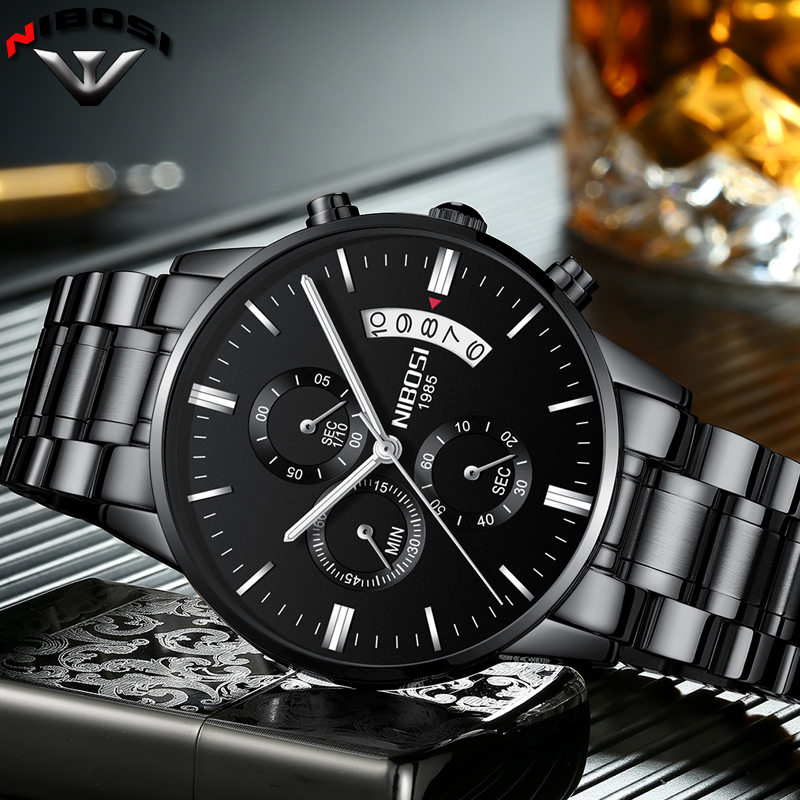 NIBOSI Relogio Masculino A Prova D gua Grande Watches Men Luxury Brand Full Steel font b