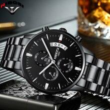 NIBOSI Relogio Masculino bir Prova D gua Grande saatler erkekler lüks marka tam çelik kuvars saatler erkek deri kronograf saat