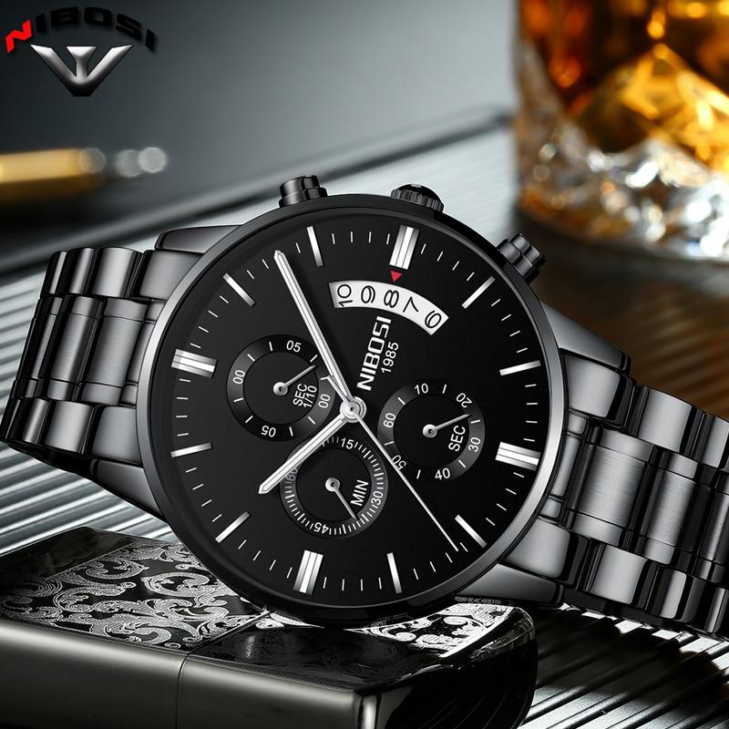 8978fd2b727 NIBOSI Relogio masculino A prova D  gua Grande Relógios Homens Marca De Luxo  Completa Aço Relógios de Relogio Masculino Nibosi Aço Inox Prova D agua ...