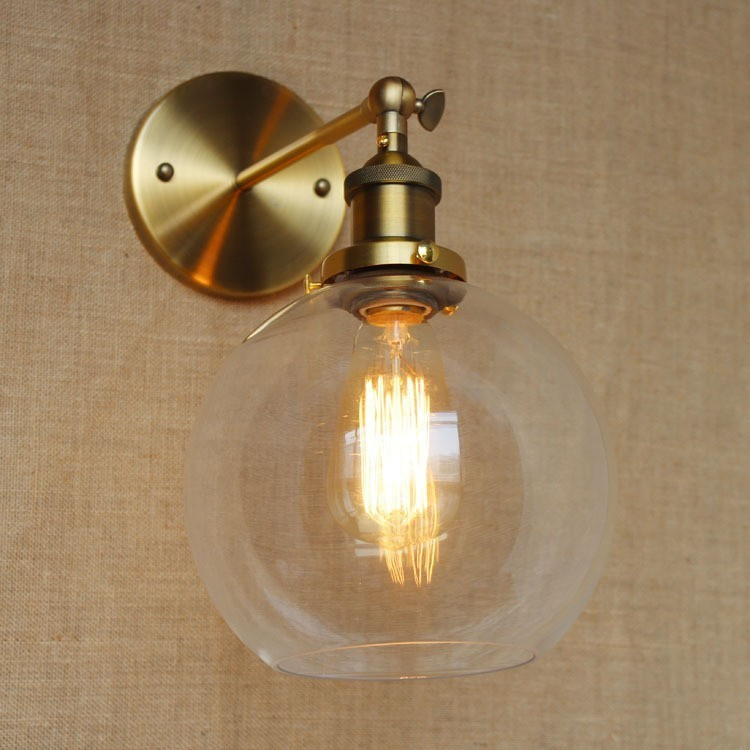 Loft Industrial bathroom lights bronze body wall lamp light sconce D20CM clear glass shade American style indoor home lighting one combo 4pcs unfoldable ceilling light e27 loft industrial spotlight clothing shoe shop indoor light warm white black body