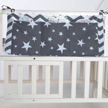 Baby Bed Hanging Storage Bag Cotton Newborn Crib Organizer Toy Diaper Pocket for Crib Bedding Set Accessories 30*68cm