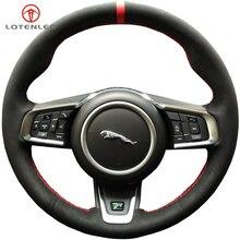 LQTENLEO черная замша DIY чехол рулевого колеса автомобиля для Jaguar XEL XFL- XE- XF- F-PACE E-PACE