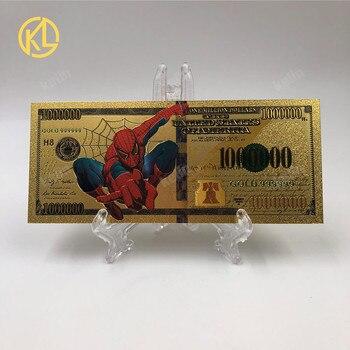 1 unidad de billete de 1000000 dólares americanos de Spiderman chapado en oro de 24K para niños, colección de regalo de cumpleaños con certificado