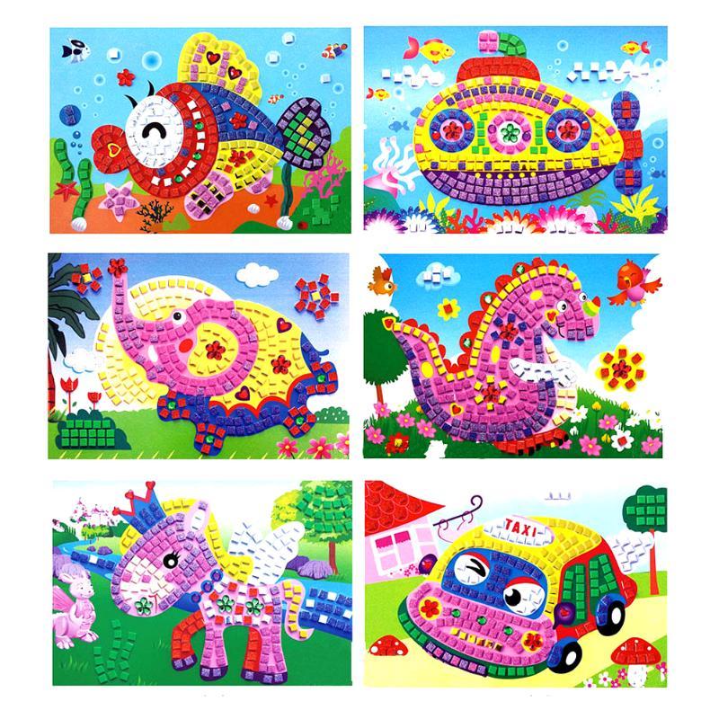 3D Foam Sticky Crystal Mosaics Art Princess&Butterflies Sticker Game Craft Art Sticker Intelligent Puzzle Educational Toys