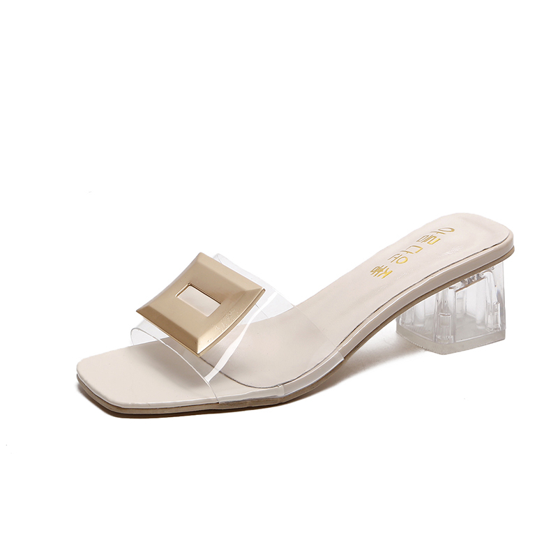 Summer Transparent Slippers Mules Slides Women Shoes Metal Buckle Peep Toe Square High Heels Clear Slippers Ladies Shoes WomanSummer Transparent Slippers Mules Slides Women Shoes Metal Buckle Peep Toe Square High Heels Clear Slippers Ladies Shoes Woman