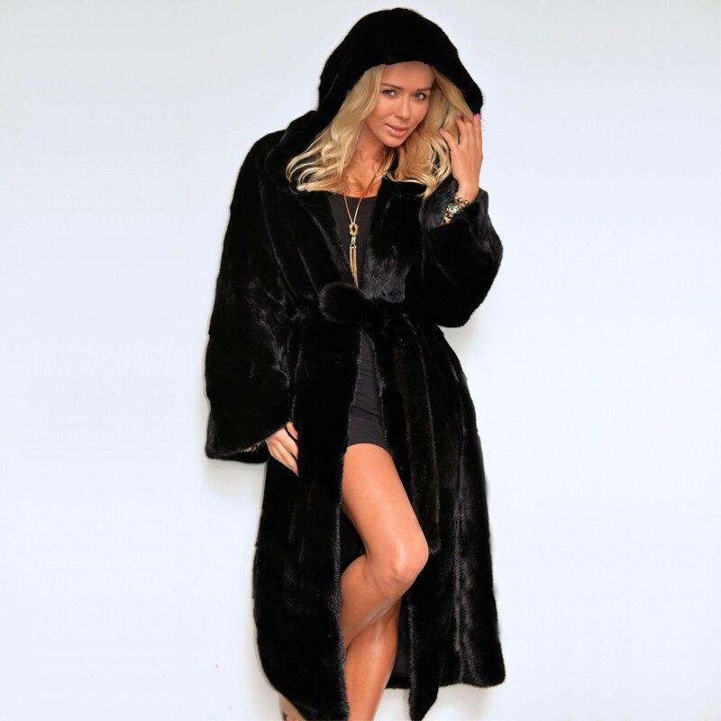Parkas Fourrure Vestes Noir Chaud 6q1276 Luxe Épais Capuchon Manteau Mode De Hiver Faux Manteaux Capot À Ceintures Avec X long Femmes qanwTgC