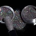 2g Holográfico Laser Colorido Black Glitter Pó Brilhante Glitter Pó Pigmento Açúcar Manicure Nail Art Tips Decoração 8005