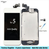 Camera Home Button Black White LCD Touch Screen Digitizer Assembly Display For IPhone 5 5C 5S