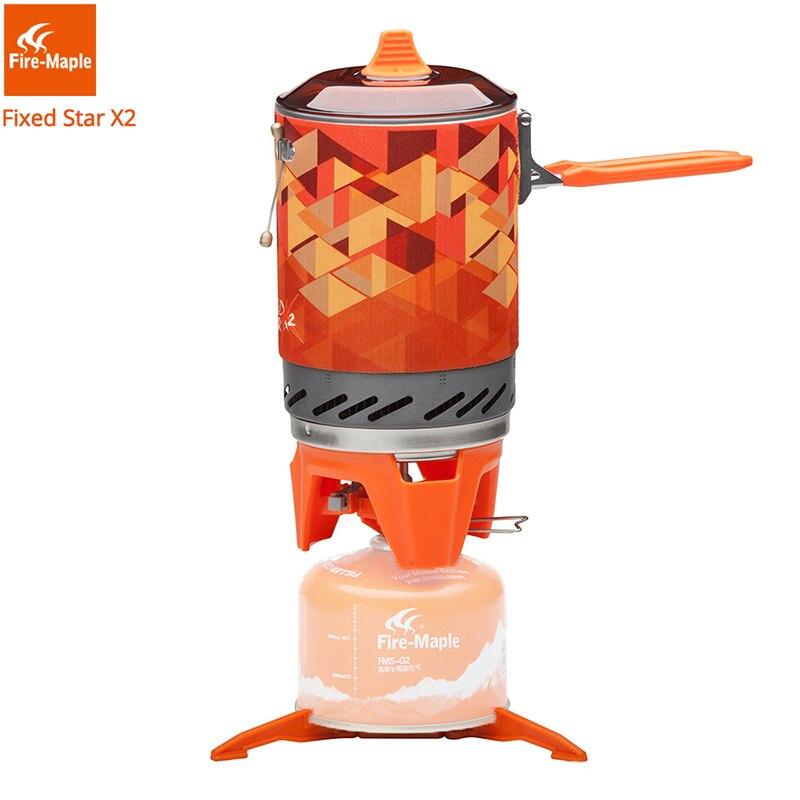 Feu érable X2 cuisinière à gaz extérieure brûleur touristique Portable système de cuisson avec échangeur de chaleur Pot FMS-X2 Camping randonnée cuisinière à gaz