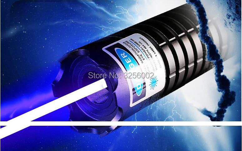 Militaire Bleu Pointeurs Laser 500 w 500000 mw 450nm LAZER lampe de Poche Allumette/bois sec/bougie/noir/Cigarettes + 5 caps Chasse