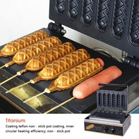 Electric Muffin Waffle Hot Dog Machine Commercial Non stick 6 Stick Lolly Waffle Maker Sausage Gas Crispy Making Machine