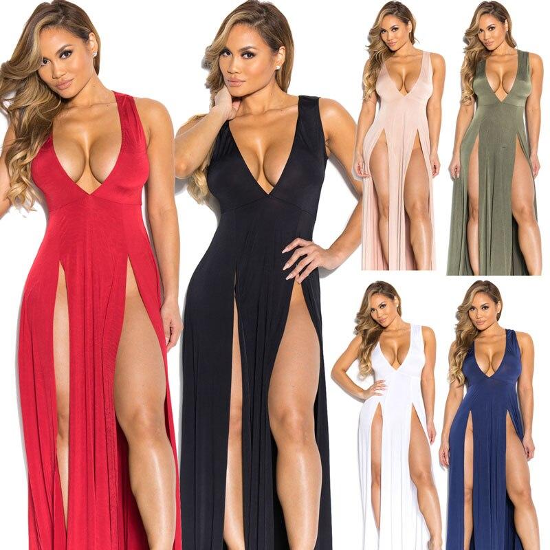 Vestido sexy sem mangas alta divisão, verão de 2016, longo, feminino, vestido longo, para clube, festa, vestido túnica