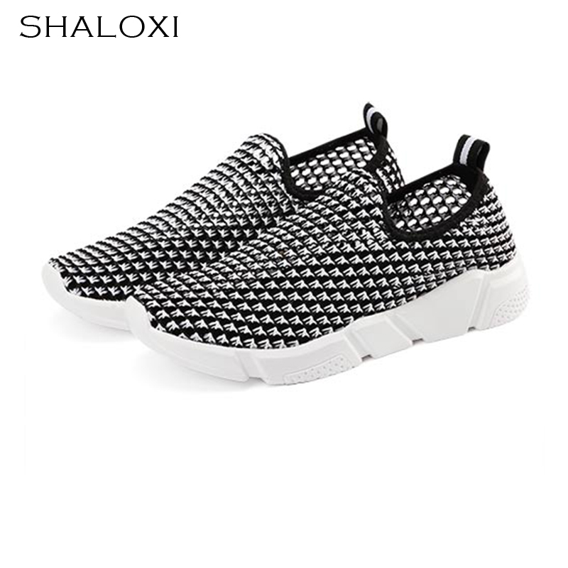 SHALOXI Breathable Soft Casual Women Shoes Spring Summer Shoes for Women Mesh Flat New Style  Fashion 2017 Outdoor Shoes LT888 2017 summer new style baby girl boy first walkers breathable mesh soft sole hook