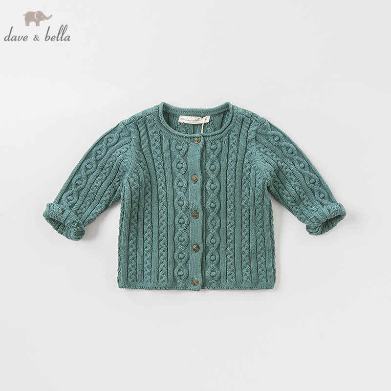 DB8711-1 dave bella 가을 유아 아기 소녀 패션 100% 코튼 카디건 어린이 유아 코트 귀여운 어린이 니트 스웨터