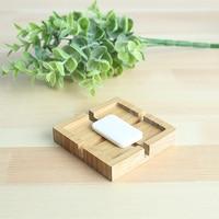 New simple hotel room bamboo bathroom waterproof soap dish soap box creative with drain soap net soap rack lo10181108