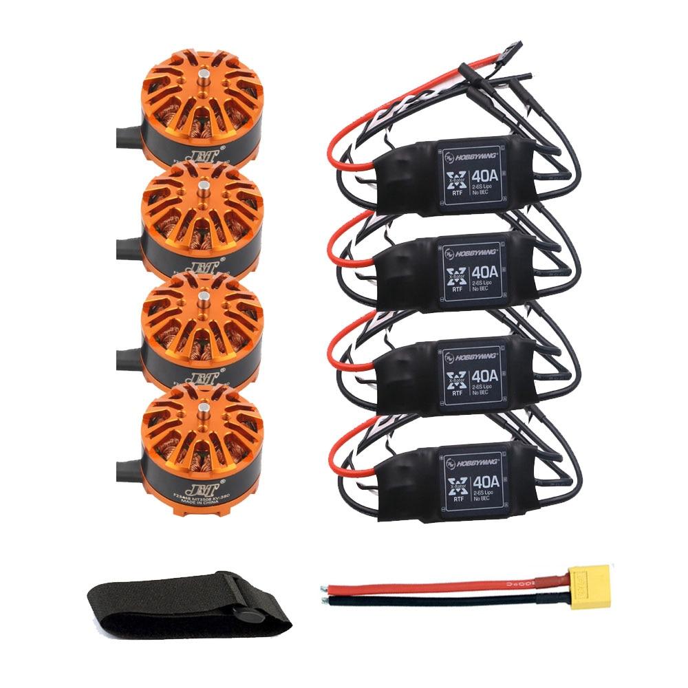 DIY Airplane Drone Motor Combo 4pcs 3508 380kv Motor + 4pcs Hobbywing XRotor 40A ESC + XT60 Connector+Fastening Tape