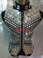 Модная мужская зеркальная майка с блестками, крутая тонкая куртка для выступлений, певец из ночного клуба танцевальное шоу сценическая без