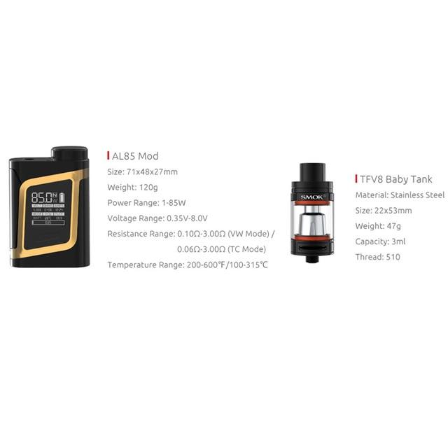 , SMOK AL85 Kit Electronic Cigarette Vaporizer Alien 85W Vape Box Mod E Cigarette Mech Mod Kit VS Mini S067