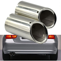 2Pcs Set 136mm Tail Exhaust Tip Pipes Black For BMW E90 E92 325i 328i 3 Series 2006 2007 2008 2009 2010 Car Rear Accessories