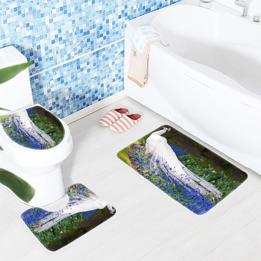 Salle De Bain Motif Fleur ~ 3 pcs salle de bains tapis ensemble paon blanc bleu paon fleur motif